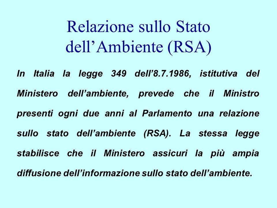 Relazione sullo Stato dellAmbiente (RSA) In Italia la legge 349 dell8.7.1986, istitutiva del Ministero dellambiente, prevede che il Ministro presenti