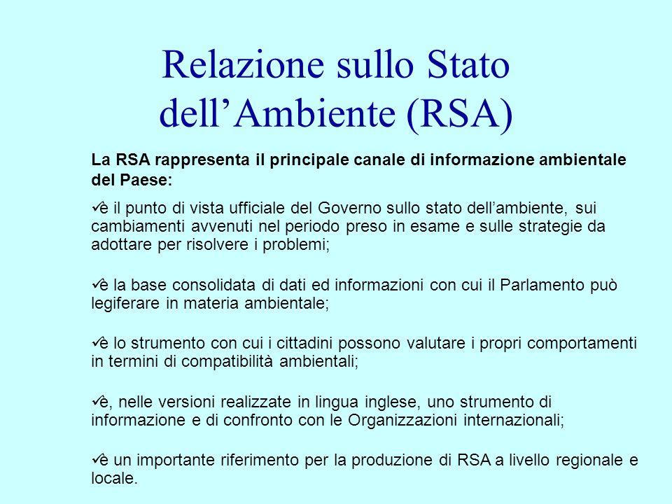 Relazione sullo Stato dellAmbiente (RSA) La RSA rappresenta il principale canale di informazione ambientale del Paese: è il punto di vista ufficiale d