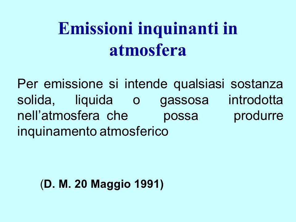 Emissioni inquinanti in atmosfera Per emissione si intende qualsiasi sostanza solida, liquida o gassosa introdotta nellatmosfera che possa produrre in