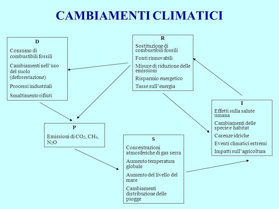 CAMBIAMENTI CLIMATICI D Consumo di combustibili fossili Cambiamenti nelluso del suolo (deforestazione) Processi industriali Smaltimento rifiuti P Emis