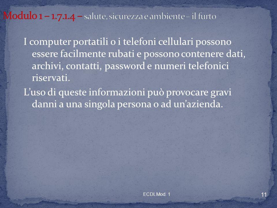 ECDL Mod. 1 11 I computer portatili o i telefoni cellulari possono essere facilmente rubati e possono contenere dati, archivi, contatti, password e nu