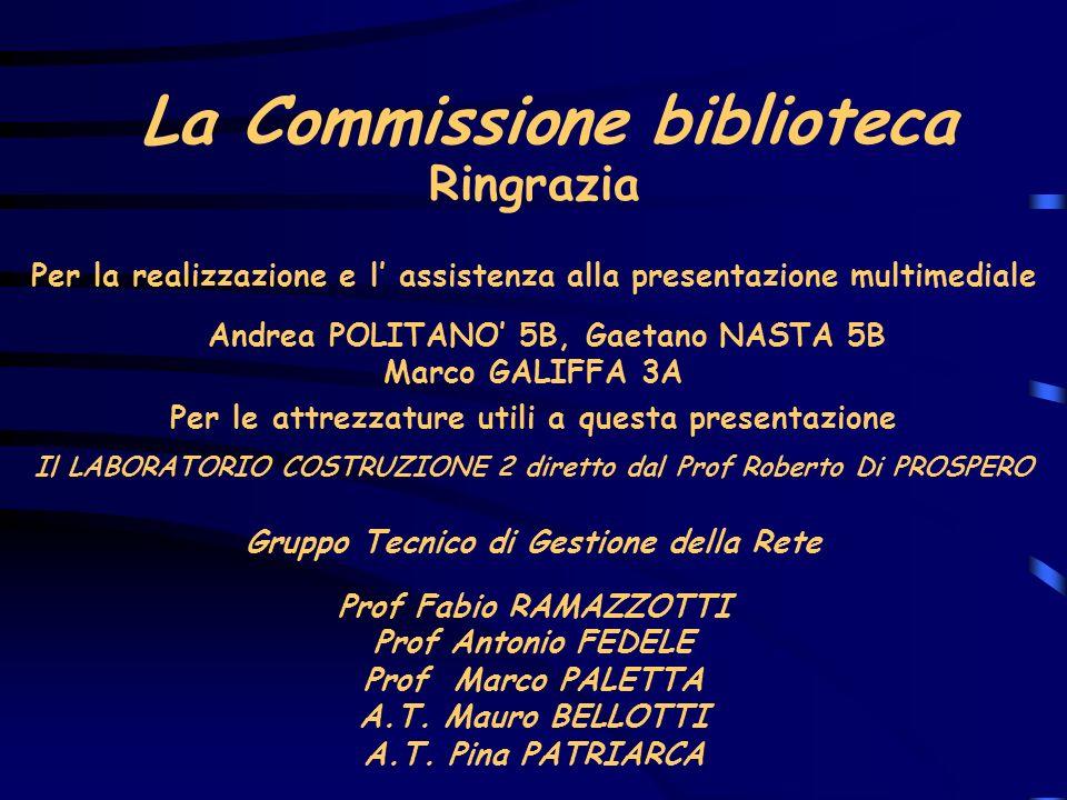 La Commissione biblioteca Per la realizzazione e l assistenza alla presentazione multimediale Andrea POLITANO 5B, Gaetano NASTA 5B Marco GALIFFA 3A Ri
