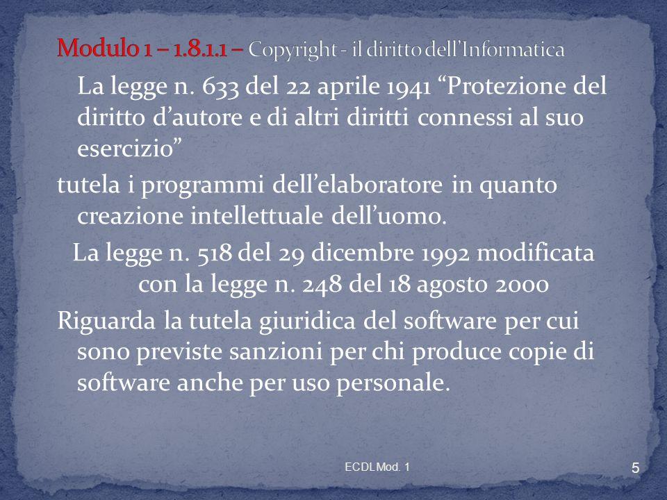 ECDL Mod. 1 5 La legge n.