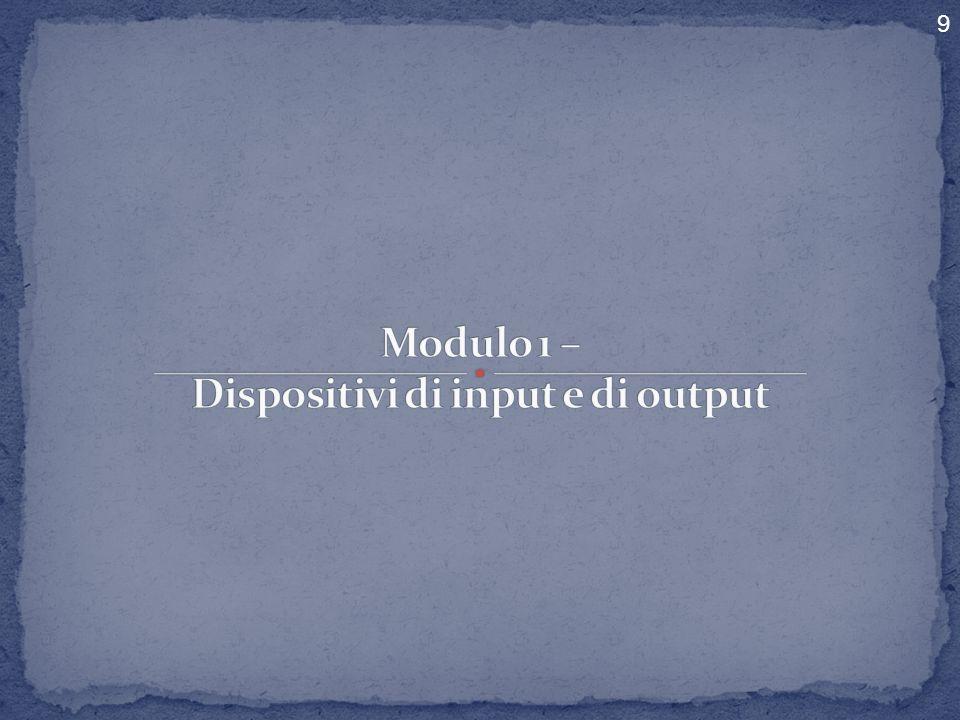 COMPONENTI ESTERNI DISPOSITIVI INPUT DISPOSITIVI OUTPUT 2 ECDL MODULO 1