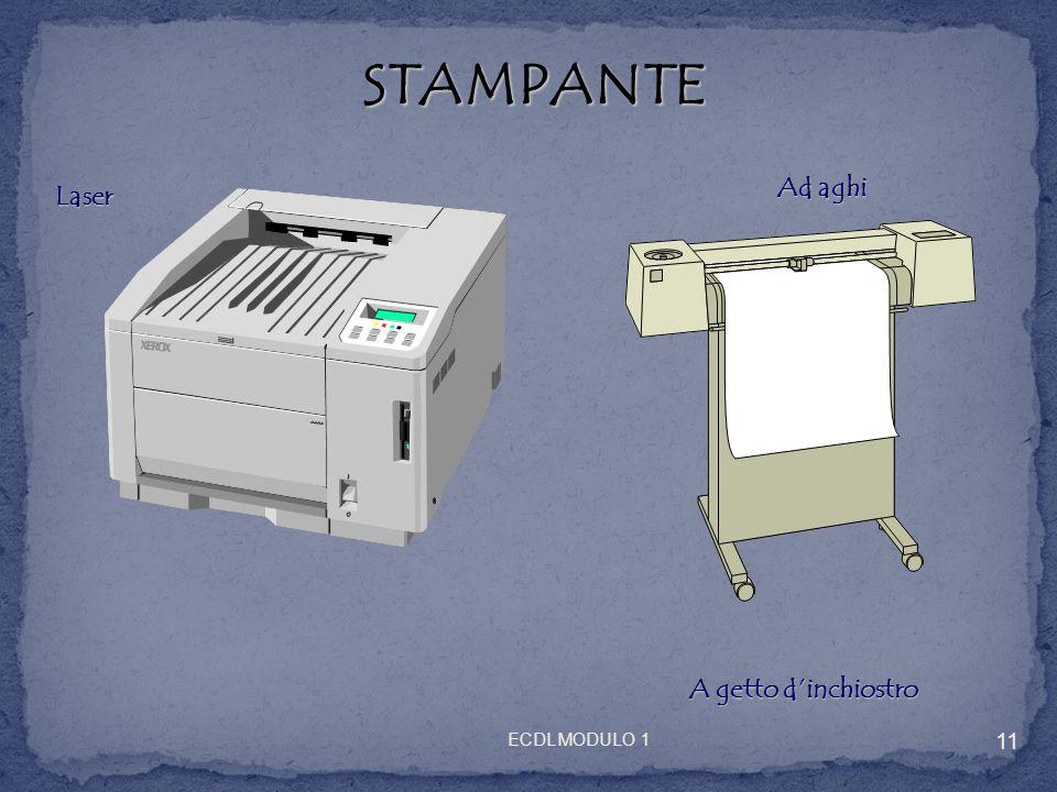 STAMPANTE STAMPANTE Laser Ad aghi A getto dinchiostro 11 ECDL MODULO 1