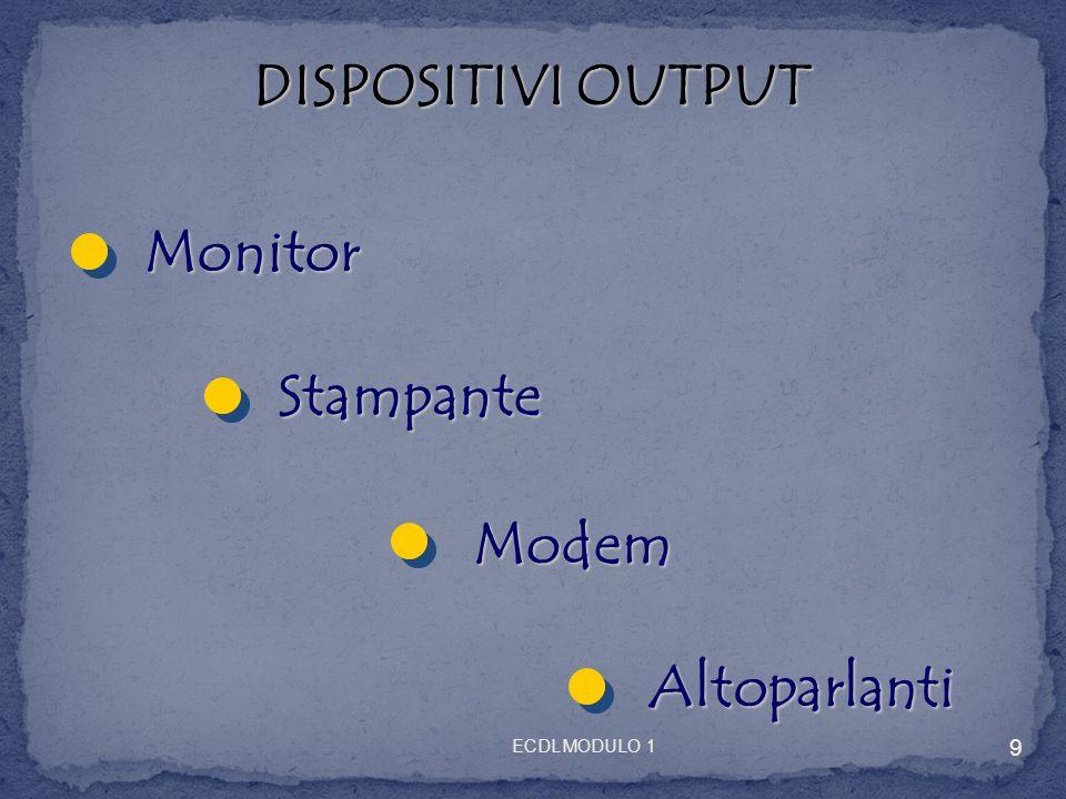 DISPOSITIVI OUTPUT Monitor Stampante Modem Altoparlanti 9 ECDL MODULO 1