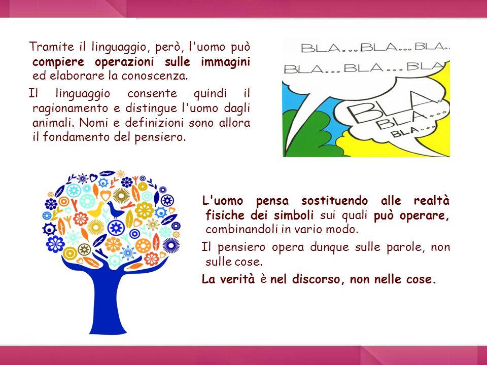 Tramite il linguaggio, però, l'uomo può compiere operazioni sulle immagini ed elaborare la conoscenza. Il linguaggio consente quindi il ragionamento e