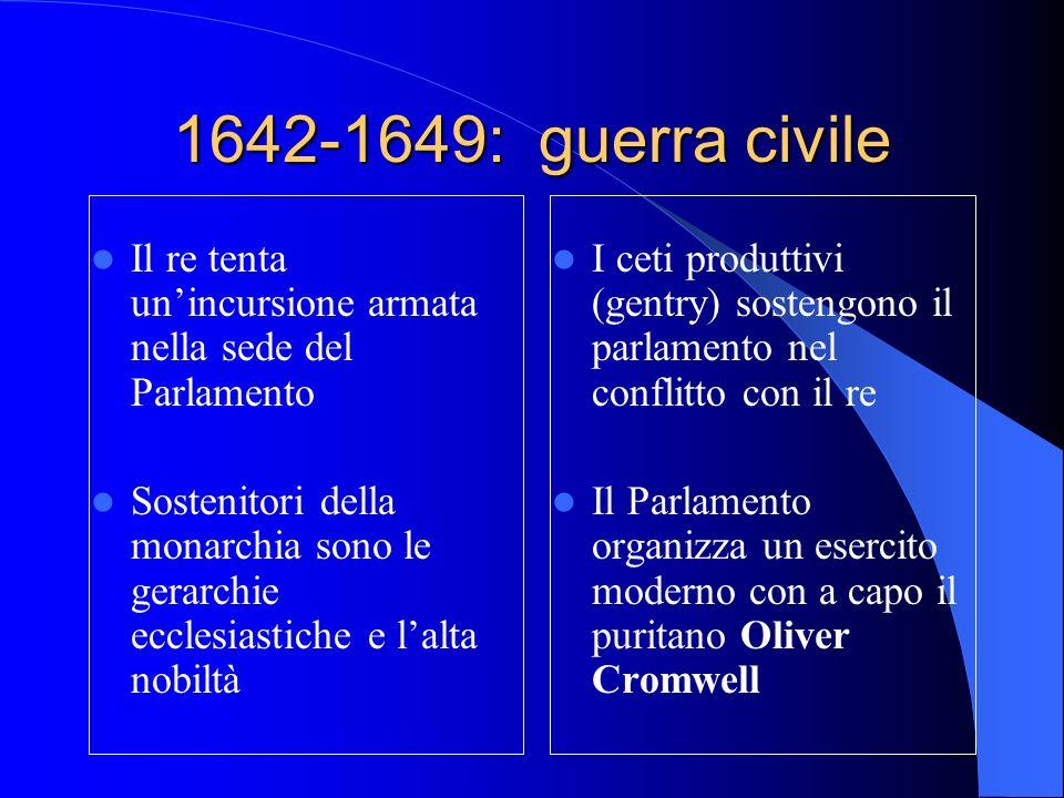 1642-1649: guerra civile Il re tenta unincursione armata nella sede del Parlamento Sostenitori della monarchia sono le gerarchie ecclesiastiche e lalta nobiltà I ceti produttivi (gentry) sostengono il parlamento nel conflitto con il re Il Parlamento organizza un esercito moderno con a capo il puritano Oliver Cromwell