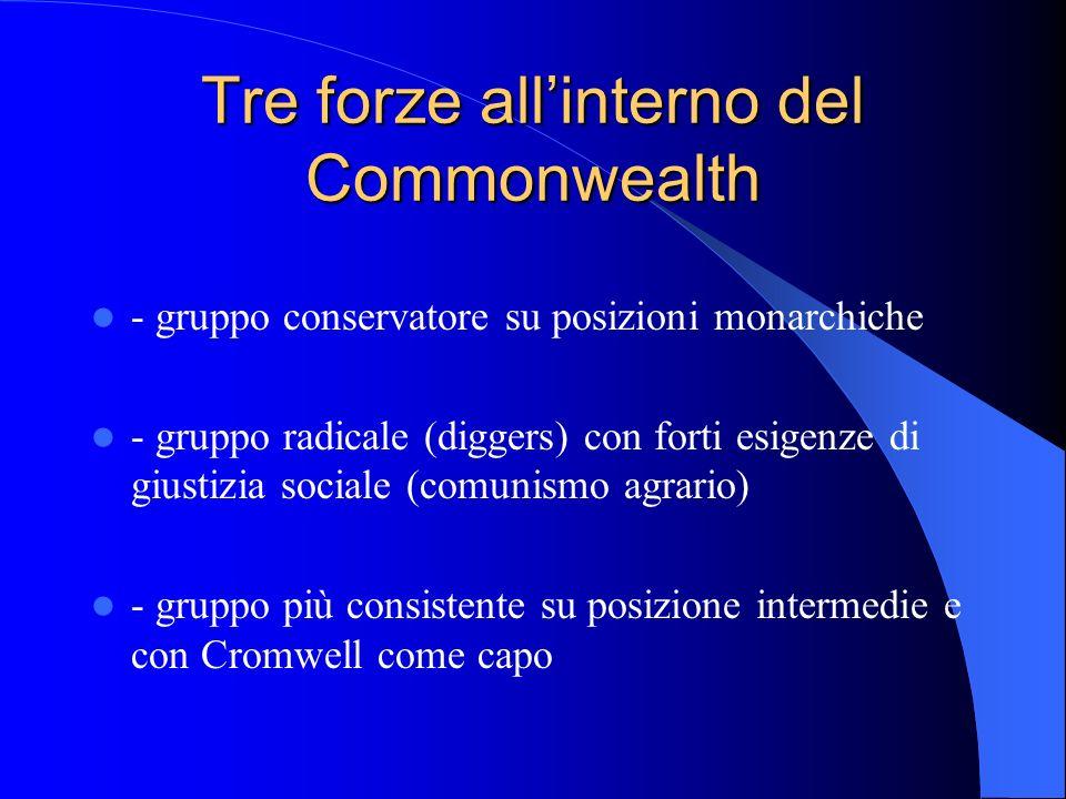 Tre forze allinterno del Commonwealth - gruppo conservatore su posizioni monarchiche - gruppo radicale (diggers) con forti esigenze di giustizia sociale (comunismo agrario) - gruppo più consistente su posizione intermedie e con Cromwell come capo