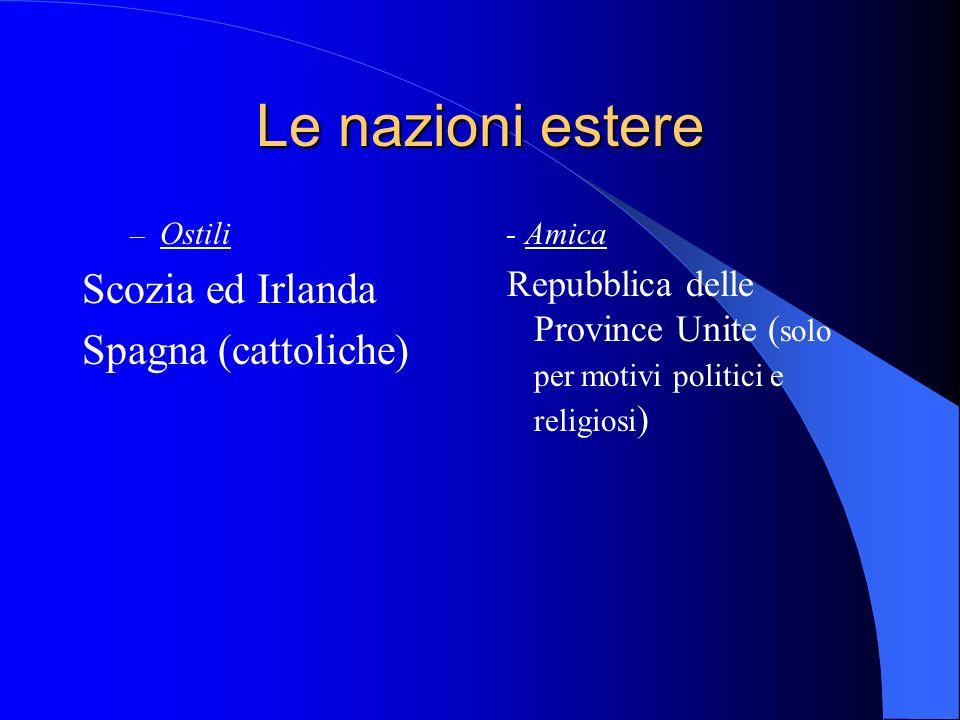 Le nazioni estere – Ostili Scozia ed Irlanda Spagna (cattoliche) - Amica Repubblica delle Province Unite ( solo per motivi politici e religiosi )