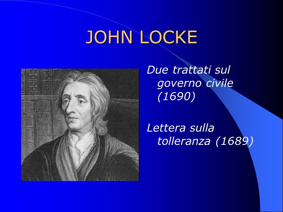 JOHN LOCKE Due trattati sul governo civile (1690) Lettera sulla tolleranza (1689)