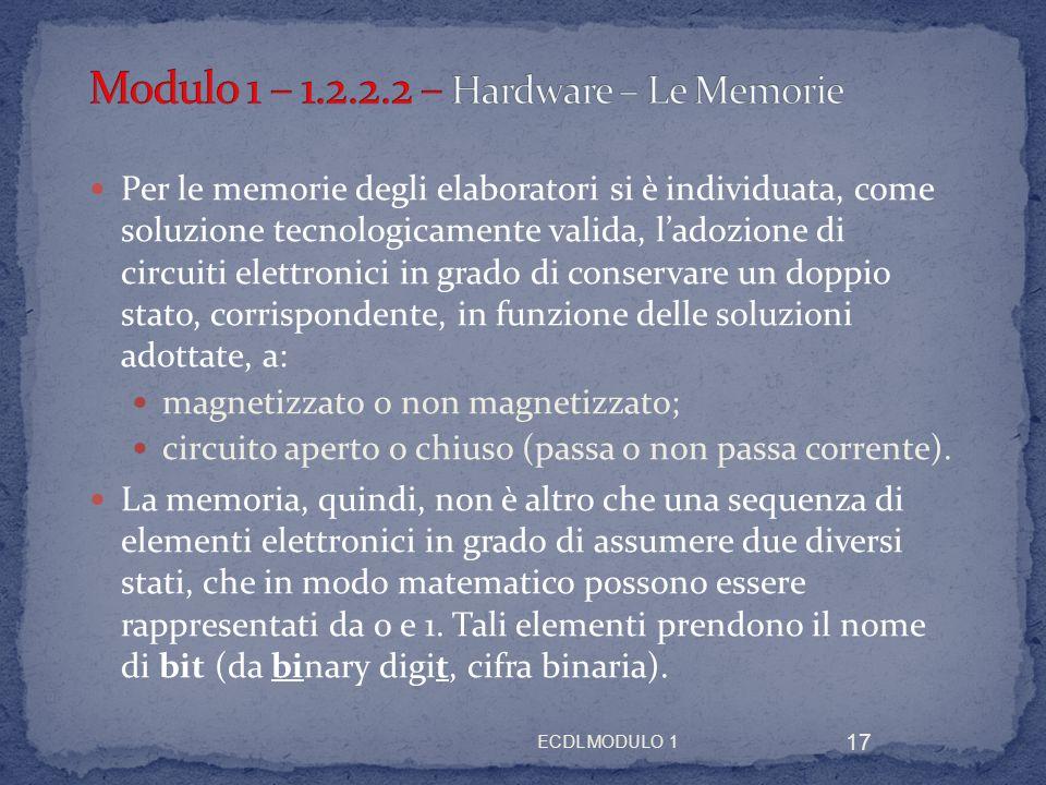 ECDL MODULO 1 17 Per le memorie degli elaboratori si è individuata, come soluzione tecnologicamente valida, ladozione di circuiti elettronici in grado