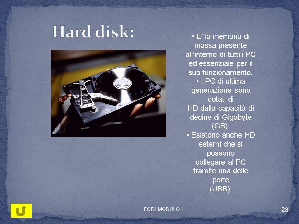 E la memoria di massa presente allinterno di tutti i PC ed essenziale per il suo funzionamento. I PC di ultima generazione sono dotati di HD dalla cap