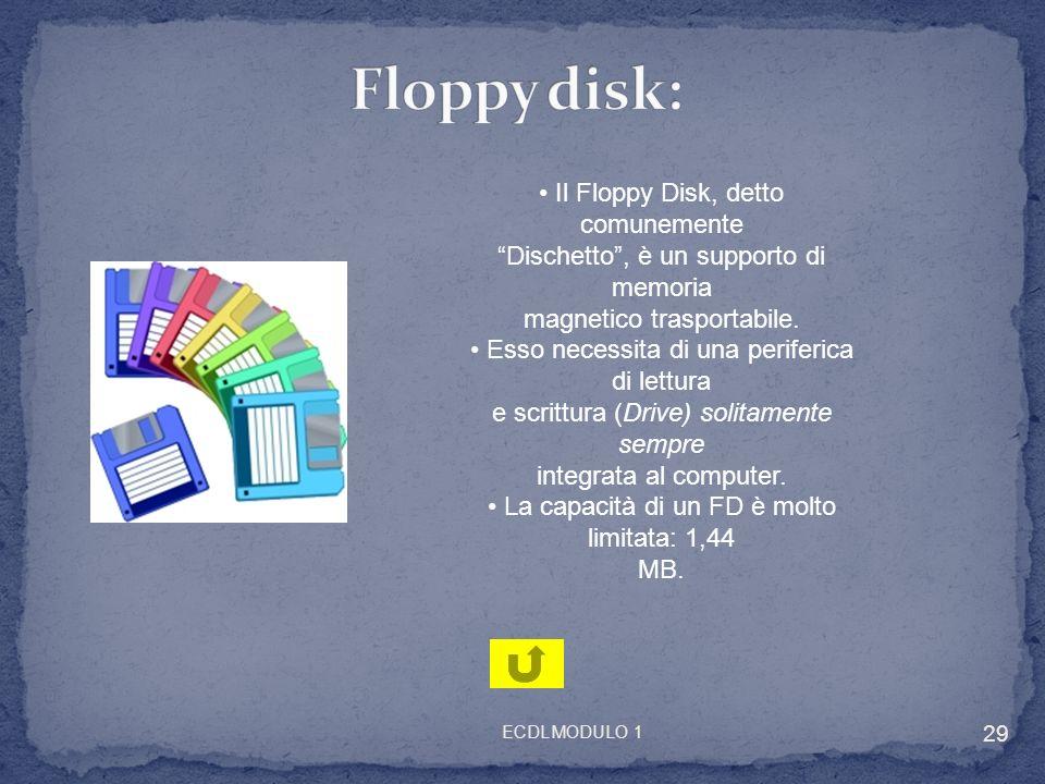 Il Floppy Disk, detto comunemente Dischetto, è un supporto di memoria magnetico trasportabile. Esso necessita di una periferica di lettura e scrittura
