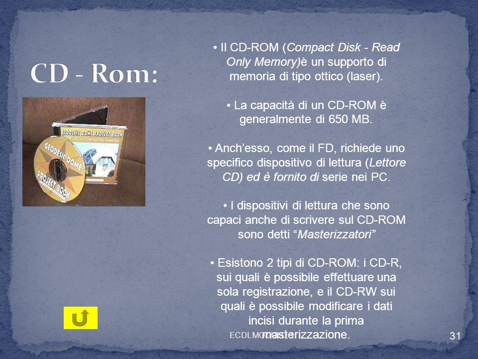 Il CD-ROM (Compact Disk - Read Only Memory)è un supporto di memoria di tipo ottico (laser). La capacità di un CD-ROM è generalmente di 650 MB. Anchess
