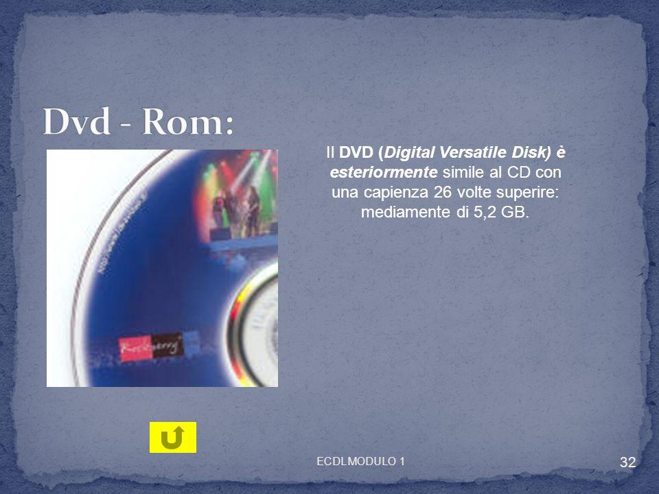Il DVD (Digital Versatile Disk) è esteriormente simile al CD con una capienza 26 volte superire: mediamente di 5,2 GB. 32 ECDL MODULO 1