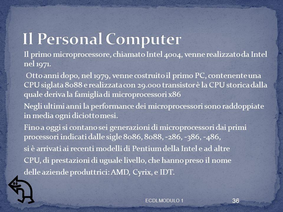 Il primo microprocessore, chiamato Intel 4004, venne realizzato da Intel nel 1971. Otto anni dopo, nel 1979, venne costruito il primo PC, contenente u