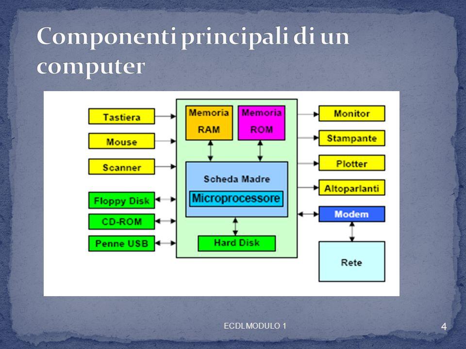 ECDL MODULO 1 15 Allaumentare della velocità del clock, può capitare che la RAM non riesca a servire con la max efficacia la CPU (tecnologie diverse e diverse velocità) Memorie CACHE Memoria temporanea per trasferimento tra memorie da velocità diverse: Memoria di massa RAM (1000 volte + veloce) RAM CPU (centinaia di nanosecondi) Memorizza istruzioni e dati usati + frequentemente