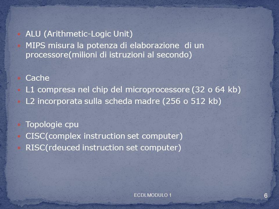 ALU (Arithmetic-Logic Unit) MIPS misura la potenza di elaborazione di un processore(milioni di istruzioni al secondo) Cache L1 compresa nel chip del m