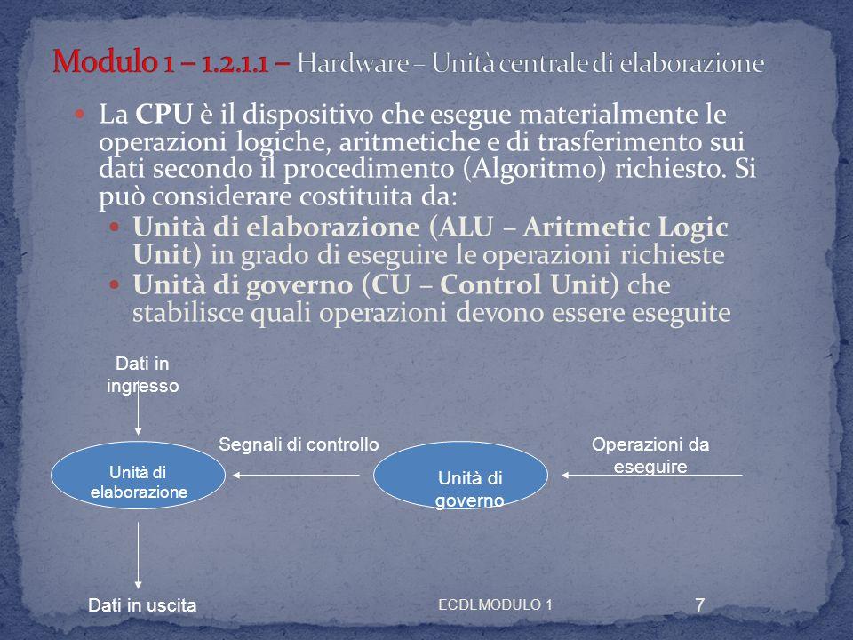 ECDL MODULO 1 8 La CPU deve contenere elementi di memoria e dispositivi in grado di eseguire operazioni elementari, aritmetiche e logiche.