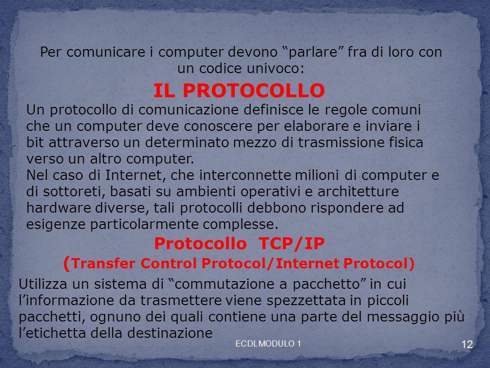 Per comunicare i computer devono parlare fra di loro con un codice univoco: IL PROTOCOLLO Un protocollo di comunicazione definisce le regole comuni ch