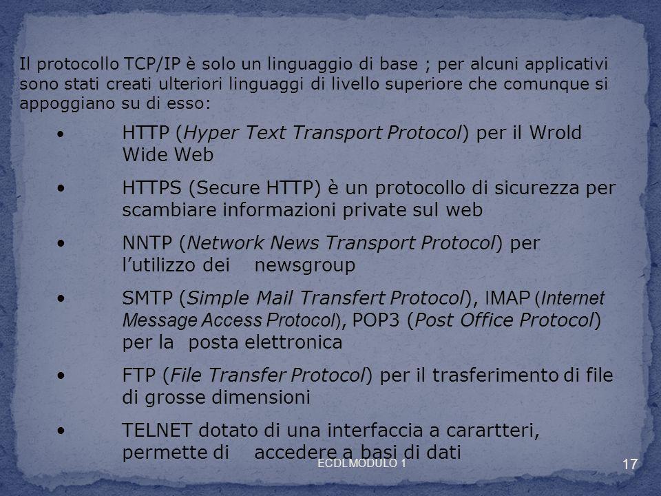 Il protocollo TCP/IP è solo un linguaggio di base ; per alcuni applicativi sono stati creati ulteriori linguaggi di livello superiore che comunque si