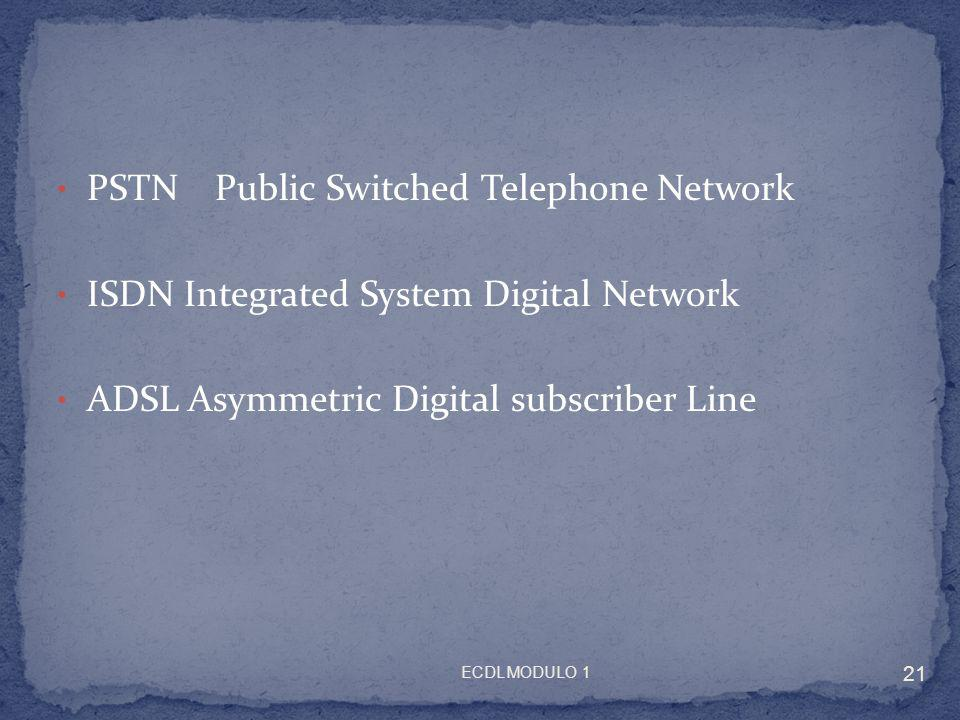 PSTN Public Switched Telephone Network ISDN Integrated System Digital Network ADSL Asymmetric Digital subscriber Line 21 ECDL MODULO 1