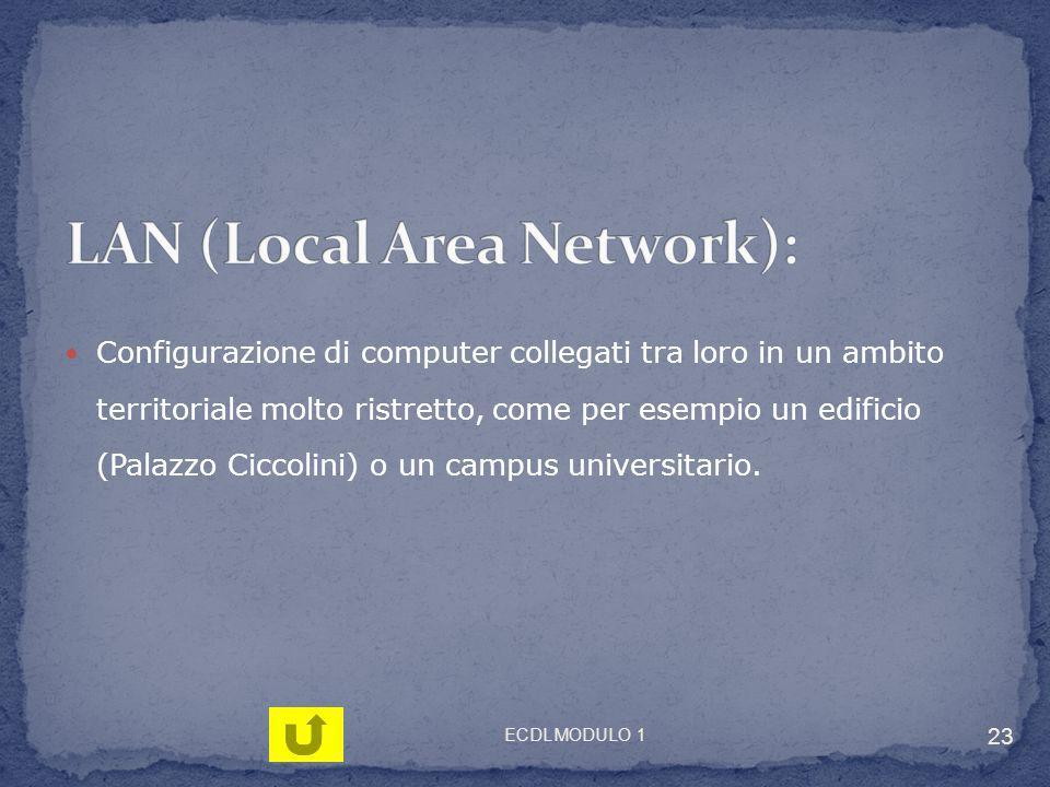 Configurazione di computer collegati tra loro in un ambito territoriale molto ristretto, come per esempio un edificio (Palazzo Ciccolini) o un campus