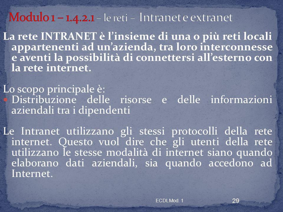 ECDL Mod. 1 29 La rete INTRANET è linsieme di una o più reti locali appartenenti ad unazienda, tra loro interconnesse e aventi la possibilità di conne