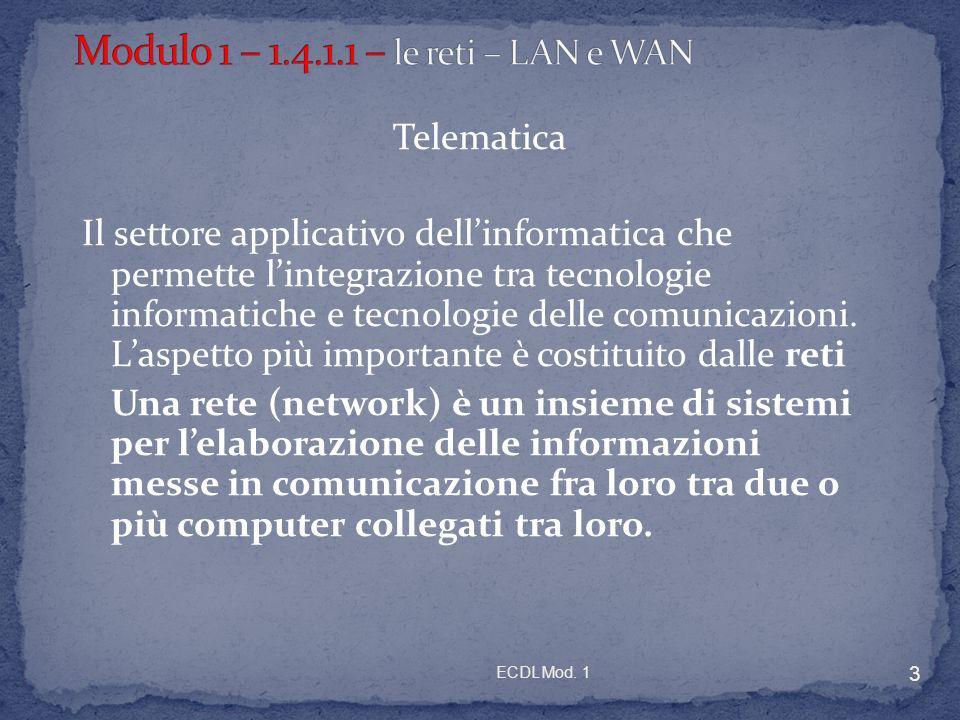 ECDL Mod. 1 3 Telematica Il settore applicativo dellinformatica che permette lintegrazione tra tecnologie informatiche e tecnologie delle comunicazion