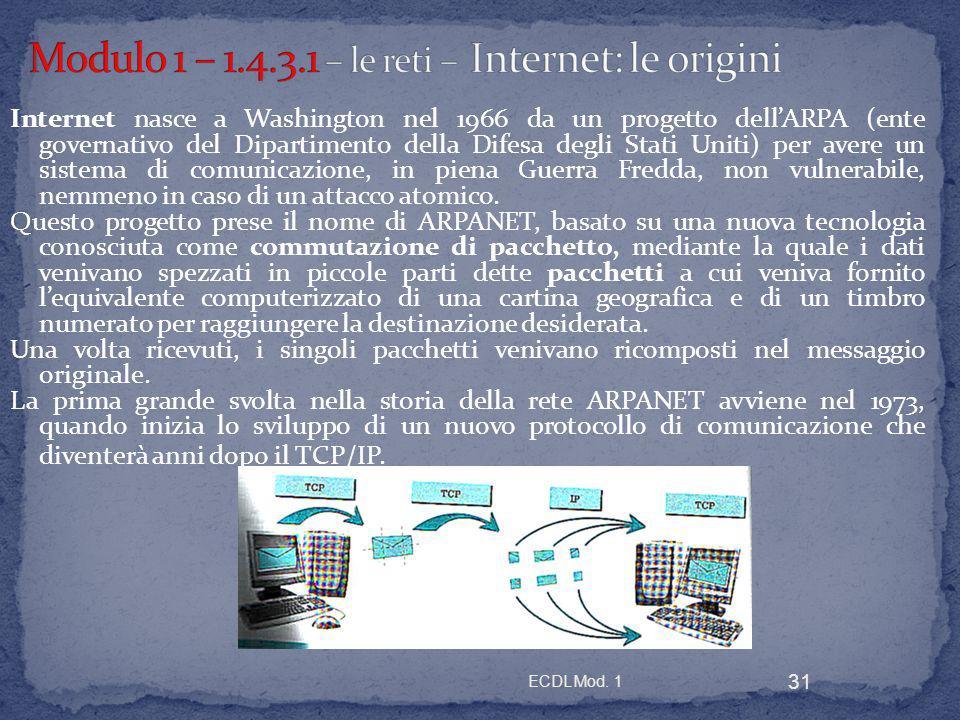 ECDL Mod. 1 31 Internet nasce a Washington nel 1966 da un progetto dellARPA (ente governativo del Dipartimento della Difesa degli Stati Uniti) per ave