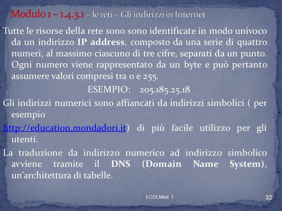 ECDL Mod. 1 32 Tutte le risorse della rete sono sono identificate in modo univoco da un indirizzo IP address, composto da una serie di quattro numeri,