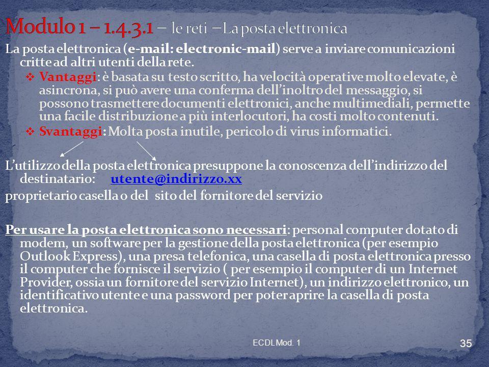 ECDL Mod. 1 35 La posta elettronica (e-mail: electronic-mail) serve a inviare comunicazioni critte ad altri utenti della rete. Vantaggi: è basata su t