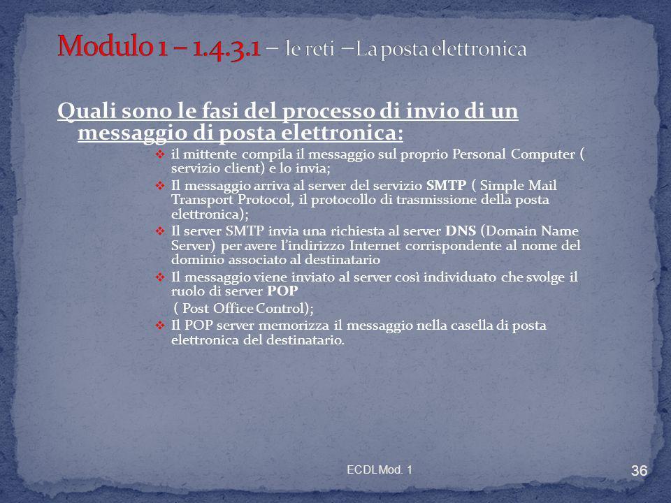 ECDL Mod. 1 36 Quali sono le fasi del processo di invio di un messaggio di posta elettronica: il mittente compila il messaggio sul proprio Personal Co