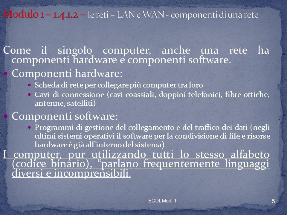 ECDL Mod. 1 5 Come il singolo computer, anche una rete ha componenti hardware e componenti software. Componenti hardware: Scheda di rete per collegare
