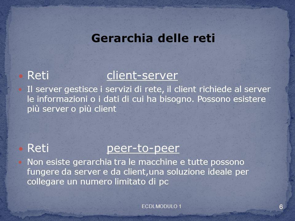 Reticlient-server Il server gestisce i servizi di rete, il client richiede al server le informazioni o i dati di cui ha bisogno. Possono esistere più
