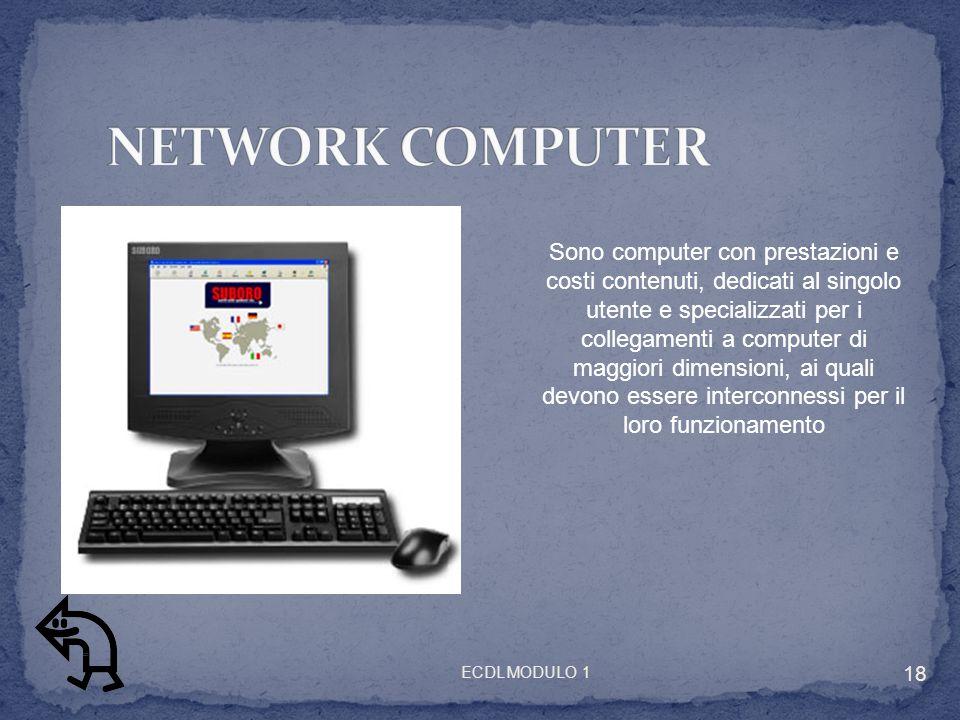 Sono computer con prestazioni e costi contenuti, dedicati al singolo utente e specializzati per i collegamenti a computer di maggiori dimensioni, ai quali devono essere interconnessi per il loro funzionamento 18 ECDL MODULO 1