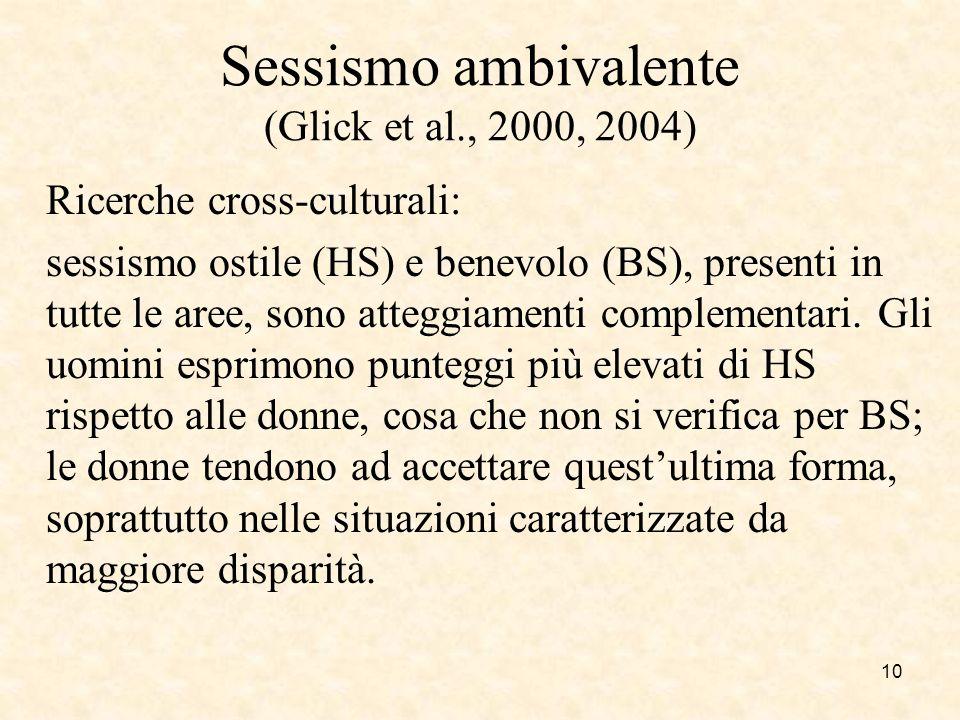 Sessismo ambivalente (Glick et al., 2000, 2004) Ricerche cross-culturali: sessismo ostile (HS) e benevolo (BS), presenti in tutte le aree, sono attegg