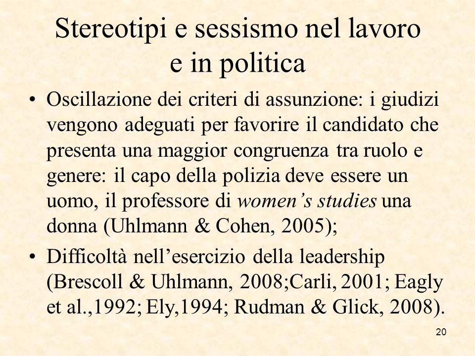 Stereotipi e sessismo nel lavoro e in politica Oscillazione dei criteri di assunzione: i giudizi vengono adeguati per favorire il candidato che presen