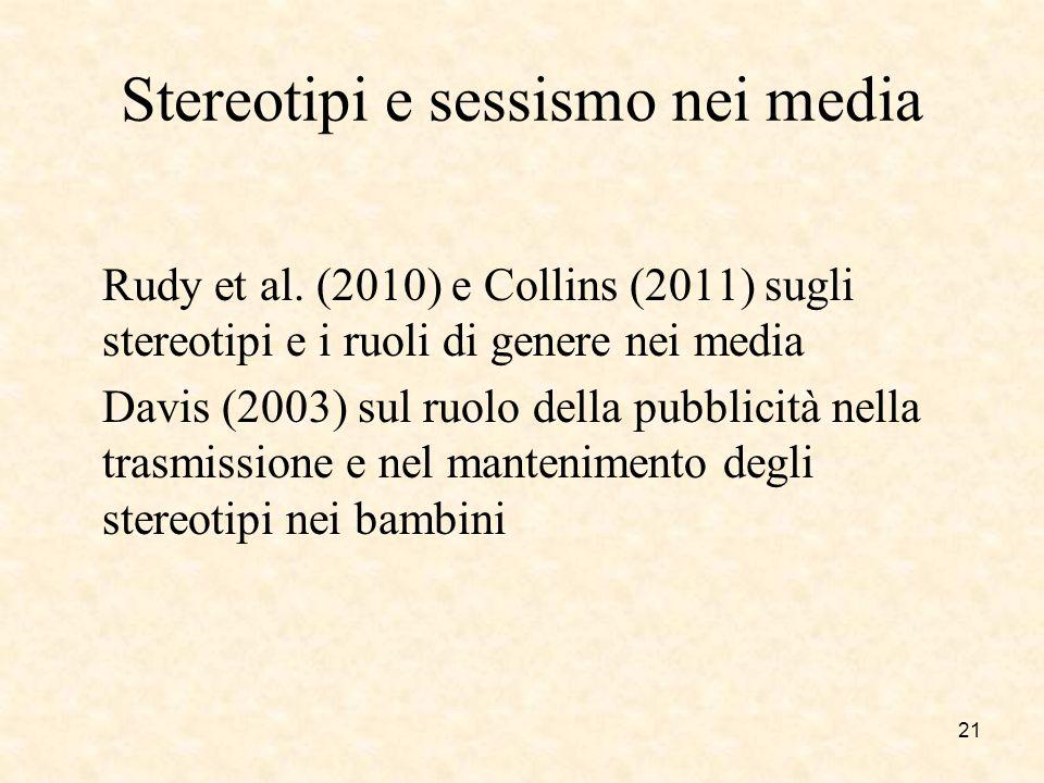 Stereotipi e sessismo nei media Rudy et al. (2010) e Collins (2011) sugli stereotipi e i ruoli di genere nei media Davis (2003) sul ruolo della pubbli