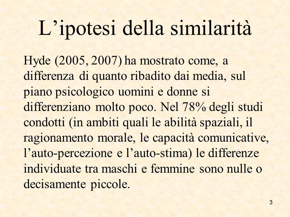 Lipotesi della similarità Hyde (2005, 2007) ha mostrato come, a differenza di quanto ribadito dai media, sul piano psicologico uomini e donne si diffe