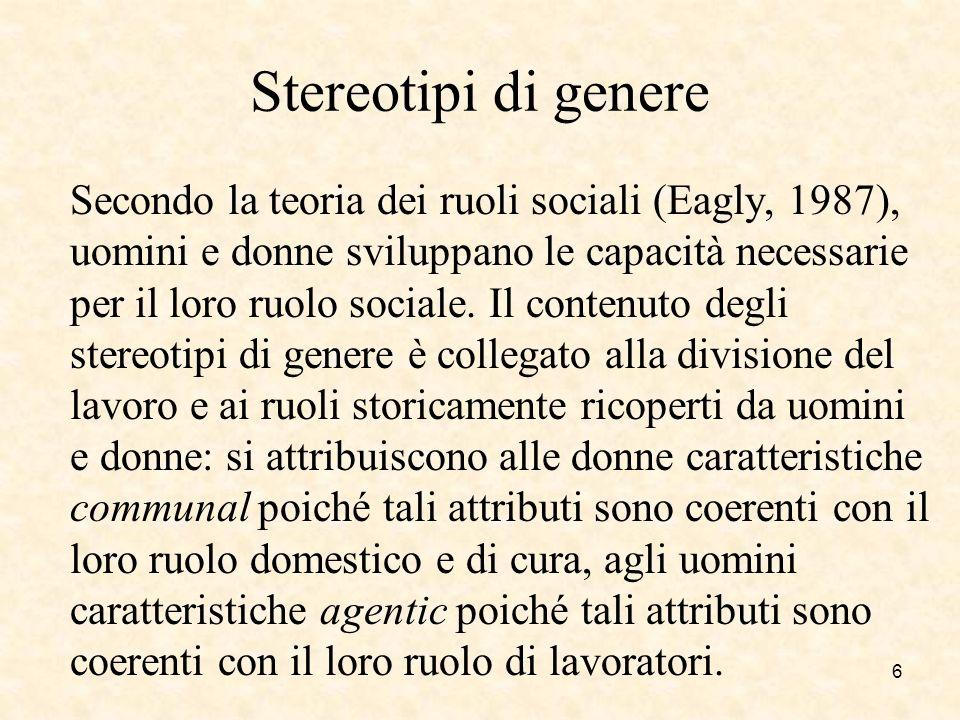 Stereotipi di genere Secondo la teoria dei ruoli sociali (Eagly, 1987), uomini e donne sviluppano le capacità necessarie per il loro ruolo sociale. Il