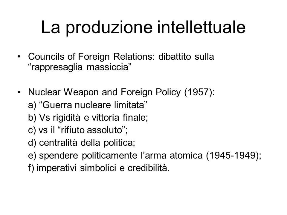 La produzione intellettuale Councils of Foreign Relations: dibattito sulla rappresaglia massiccia Nuclear Weapon and Foreign Policy (1957): a) Guerra
