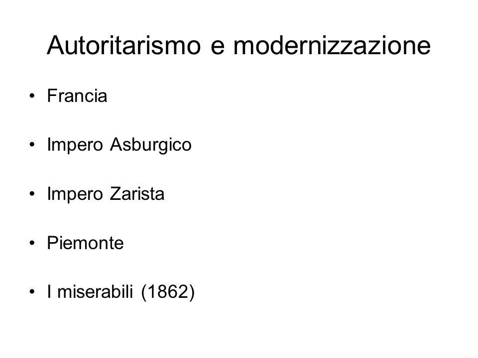 Autoritarismo e modernizzazione Francia Impero Asburgico Impero Zarista Piemonte I miserabili (1862)