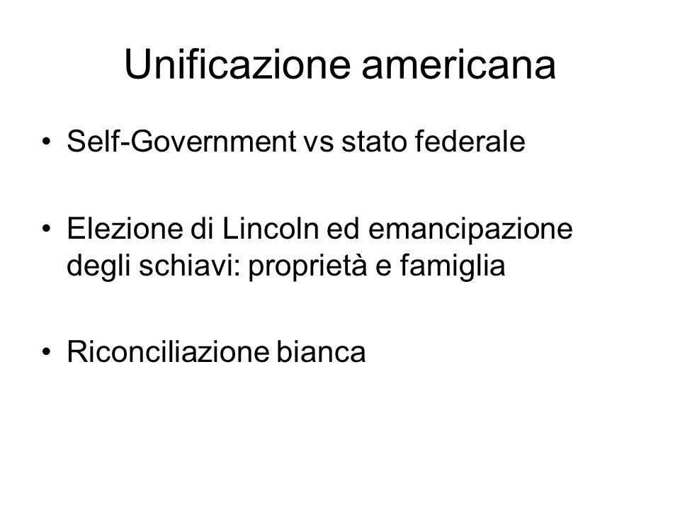 Unificazione americana Self-Government vs stato federale Elezione di Lincoln ed emancipazione degli schiavi: proprietà e famiglia Riconciliazione bian
