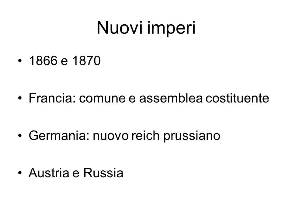 Nuovi imperi 1866 e 1870 Francia: comune e assemblea costituente Germania: nuovo reich prussiano Austria e Russia