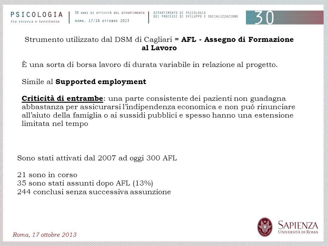 Roma, 17 ottobre 2013 Sono stati attivati dal 2007 ad oggi 300 AFL 21 sono in corso 35 sono stati assunti dopo AFL (13%) 244 conclusi senza successiva
