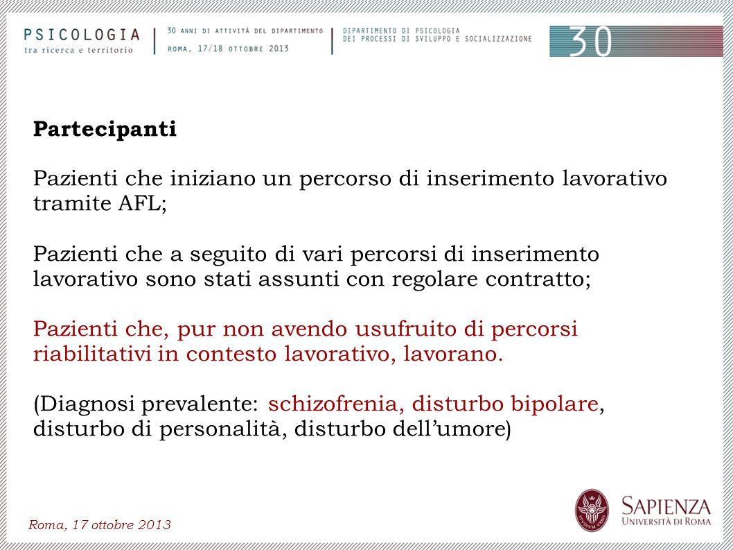 Roma, 17 ottobre 2013 Partecipanti Pazienti che iniziano un percorso di inserimento lavorativo tramite AFL; Pazienti che a seguito di vari percorsi di