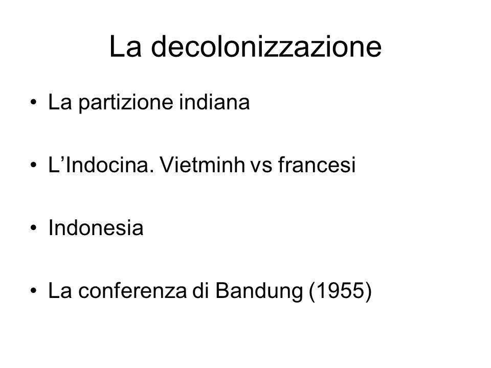 La decolonizzazione La partizione indiana LIndocina. Vietminh vs francesi Indonesia La conferenza di Bandung (1955)