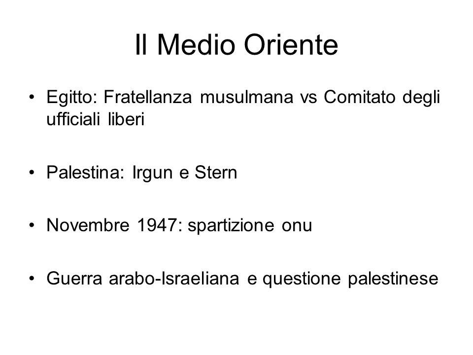 Il Medio Oriente Egitto: Fratellanza musulmana vs Comitato degli ufficiali liberi Palestina: Irgun e Stern Novembre 1947: spartizione onu Guerra arabo